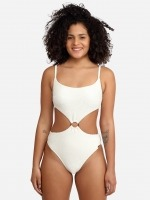 Free Society - Scrunch Cut Out Swimsuit in Ivory 2 Thumb