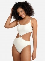 Free Society - Scrunch Cut Out Swimsuit in Ivory 1 Thumb