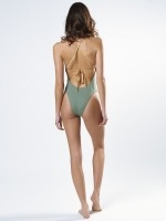 Free Society - Khaki & Gold Zig Zag Swimsuit 2 Thumb