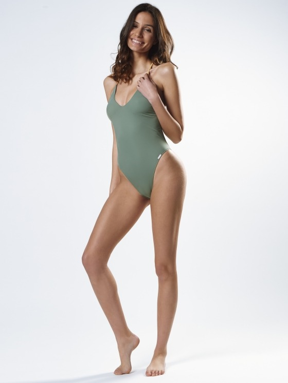 Free Society - Khaki & Gold Zig Zag Swimsuit 1