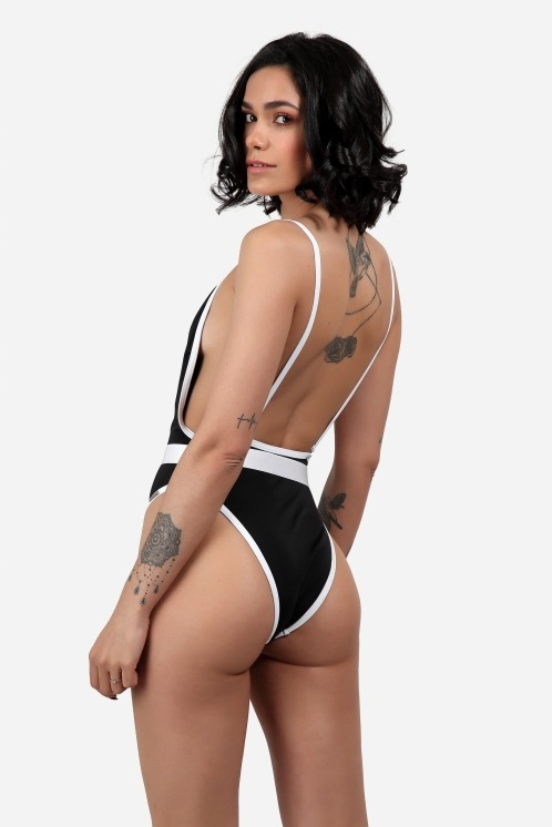 Free Society - Contrast Binding Belted Swimsuit 4 Imagem Zoom