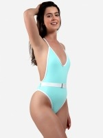 Free Society - Contrast Binding Belted Swimsuit 2 Thumb