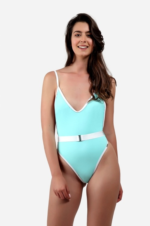 Free Society - Contrast Binding Belted Swimsuit 1
