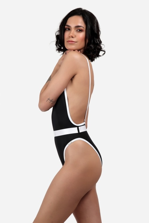 Free Society - Contrast Binding Belted Swimsuit 3 Imagem Zoom