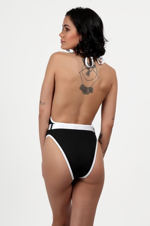 Free Society - Contrast Binding Belted Swimsuit 5