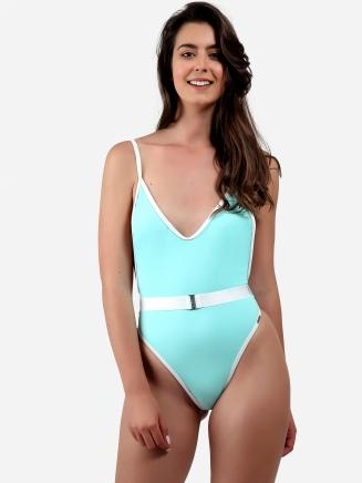 Contrast Binding Belted Swimsuit