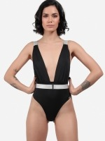 Free Society - Plunge Belted Swimsuit 5 Thumb