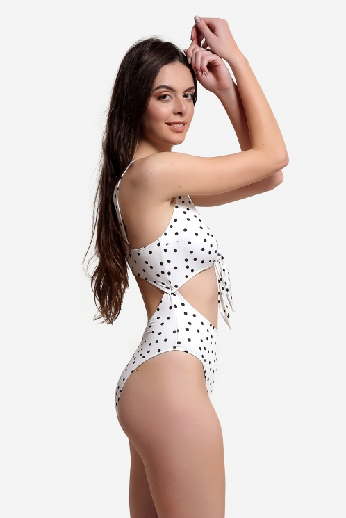 Free Society - Polka Dot Cut Out Swimsuit 3