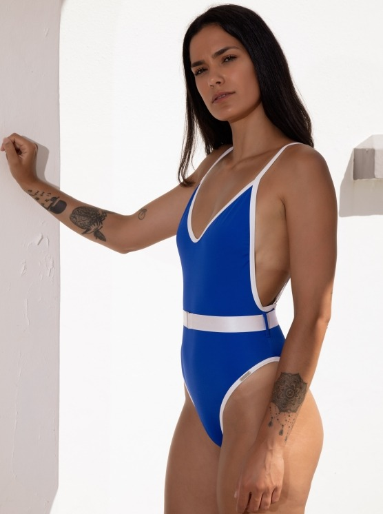 Free Society - Contrast Belted Swimsuit 2