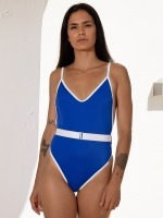 Free Society - Contrast Belted Swimsuit 1 Thumb