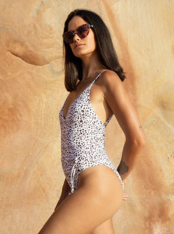 Free Society - White Leopard Plunge Swimsuit 3