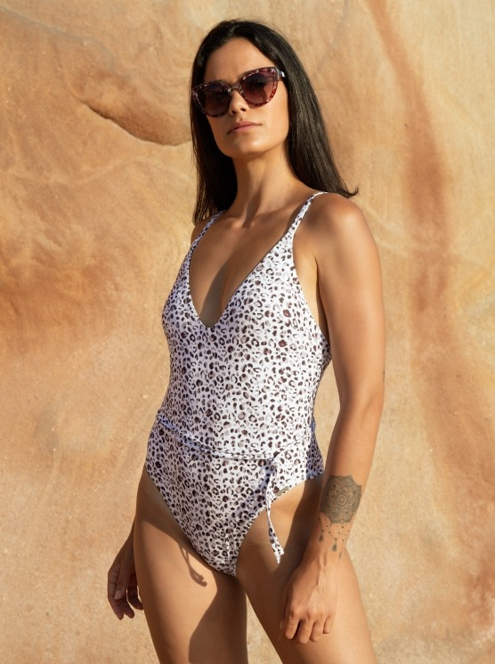 Free Society - White Leopard Plunge Swimsuit 1