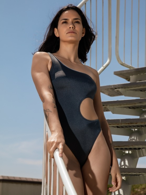 Free Society - Metalic One Shoulder Swimsuit 2