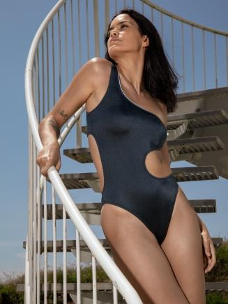 Metalic One Shoulder Swimsuit