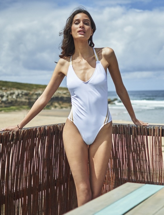 Free Society - White Cross Tape Swimsuit 1